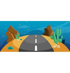 A road with cactus vector