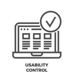 Usability control line icon vector