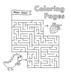 Cartoon dinosaur maze game vector