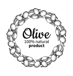 Olive wreath hand drawn of vector