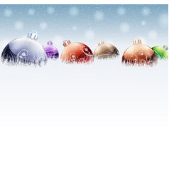 Christmas color baubles on snow vector