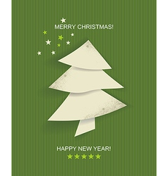 Christmas tree white isolated origami vector