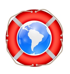 Globe in lifebuoy vector