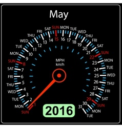 2016 year calendar speedometer car May vector image vector image