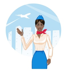 Young cheerful african american stewardess eps10 vector