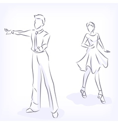 Couple dances latin fast ballroom dances vector image