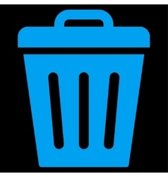 Trash can flat blue color icon vector