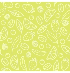 Doodle fruits and berries green seamless pattern vector