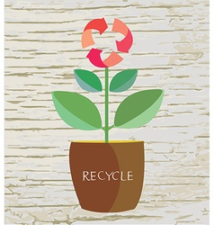 Ecology concept with flower and recycle sign vector