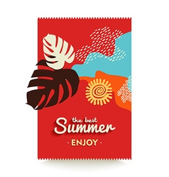 Enjoy your summer vacations paradise beach poster vector