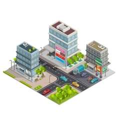 Shopping center buildings complex isometric banner vector