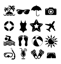 Beach and vacation set icon collection vector