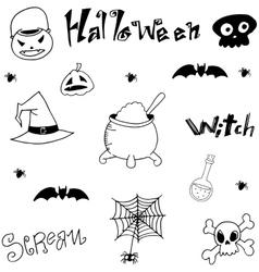 Black white element halloween in doodle vector