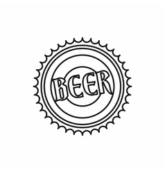 Beer bottle cap icon outline style vector