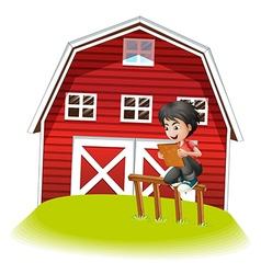 A teenager reading near the barnhouse vector