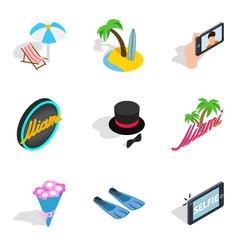 Binge icons set isometric style vector