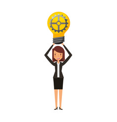 businesswoman with bulb avatar character icon vector image