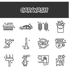 car wash flat icons set vector image