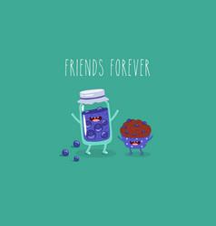cartoon breakfast friends forever jam vector image vector image