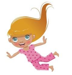 Cartoon girl in pink pajamas flies vector