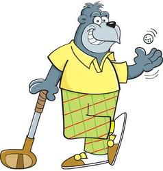 Cartoon gorilla leaning on a golf club vector