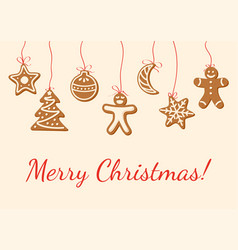 christmas card with gingerbread cookies vector image vector image