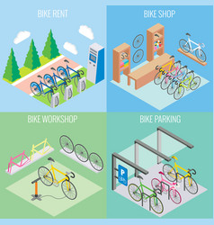 city bike concept in isometric style vector image vector image
