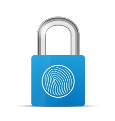 Closed blue realistic lock with fingerprint vector image vector image