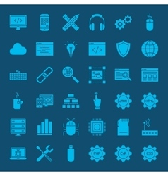 Coding glyphs website icons vector