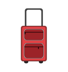 color image cartoon travel suitcase with handle vector image