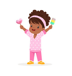 cute little african girl character feeling happy vector image vector image