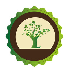 Decorative circular emblem with leafy tree plant vector