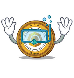 Diving komodo coin character cartoon vector