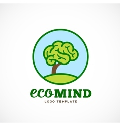 Eco mind abstract logo template brain tree vector