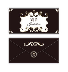 Elegant horizontal envelope template for vip vector