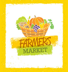 farmers market creative organic local food vector image vector image