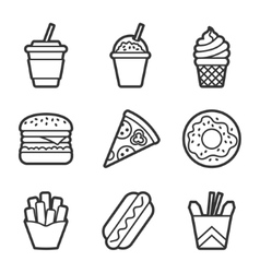 Fast food contour icon set vector image