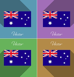 Flags Australia Set of colors flat design and long vector image