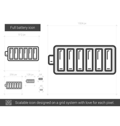 Full battery line icon vector