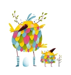 Funny bird family mother and nestling egg kid vector