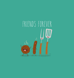 funny sausage steak and chicken leg friend vector image