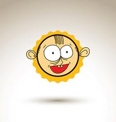 Hand drawn cartoon happy smiling boy web avatar vector