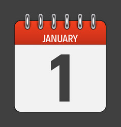 january 1 calendar daily icon vector image