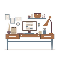 line workplace in flat style interior outline vector image