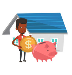 Man puts money into piggy bank for buying house vector
