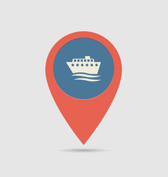 Map pin ship port vector