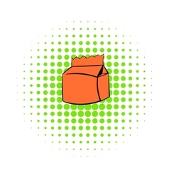 Milk or juice carton package icon comics style vector