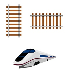 Railroad and train vector image