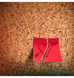 Red sticky note with heart sketched on cork board vector image