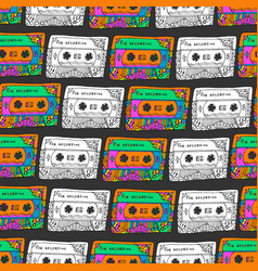 retro seamless pattern with cassettes hipster fun vector image